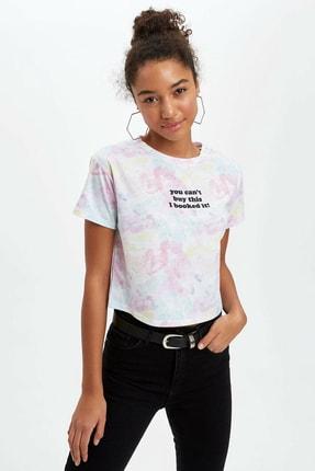DeFacto Kadın Pembe Yazı Baskı Detaylı Kısa Kollu T-Shirt R1755AZ.20SM.PN186