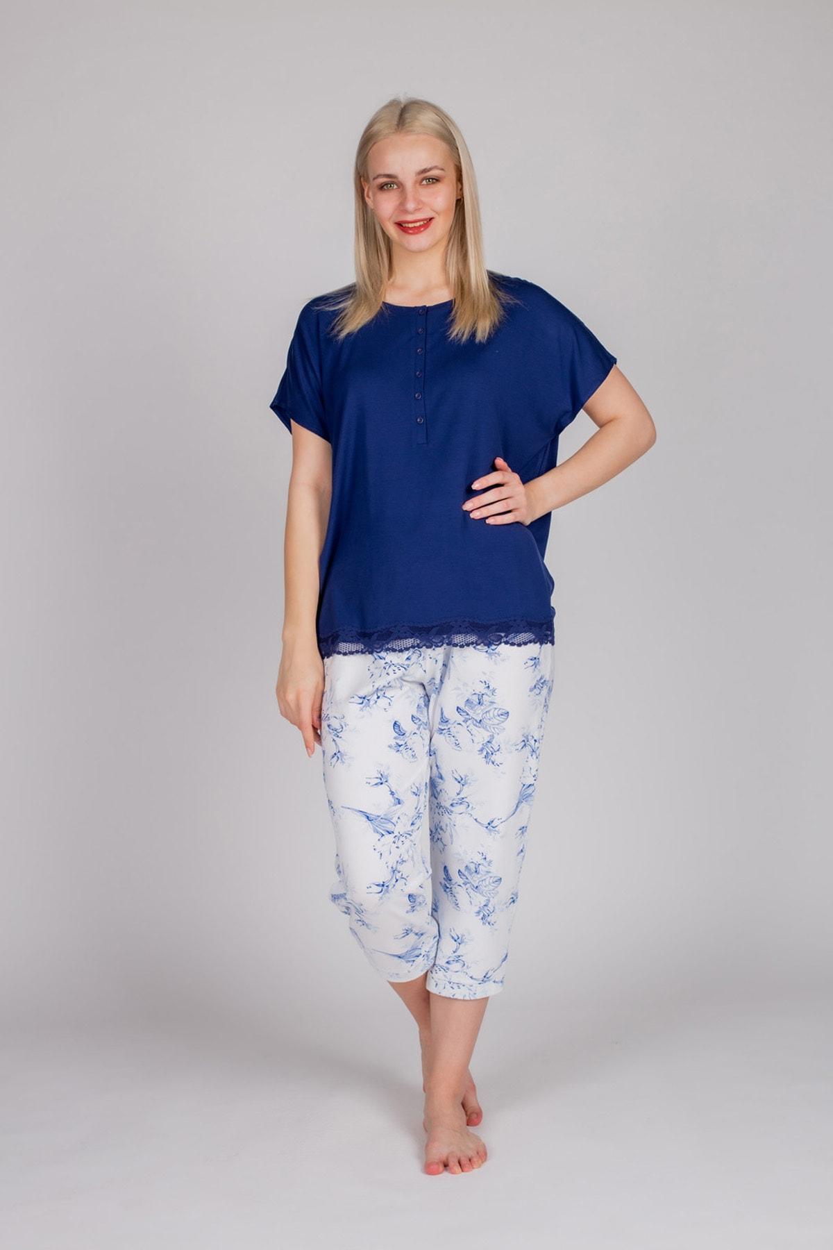 Hays Kadın Lacivert Kısa Kollu Midi Pijama Takımı 2