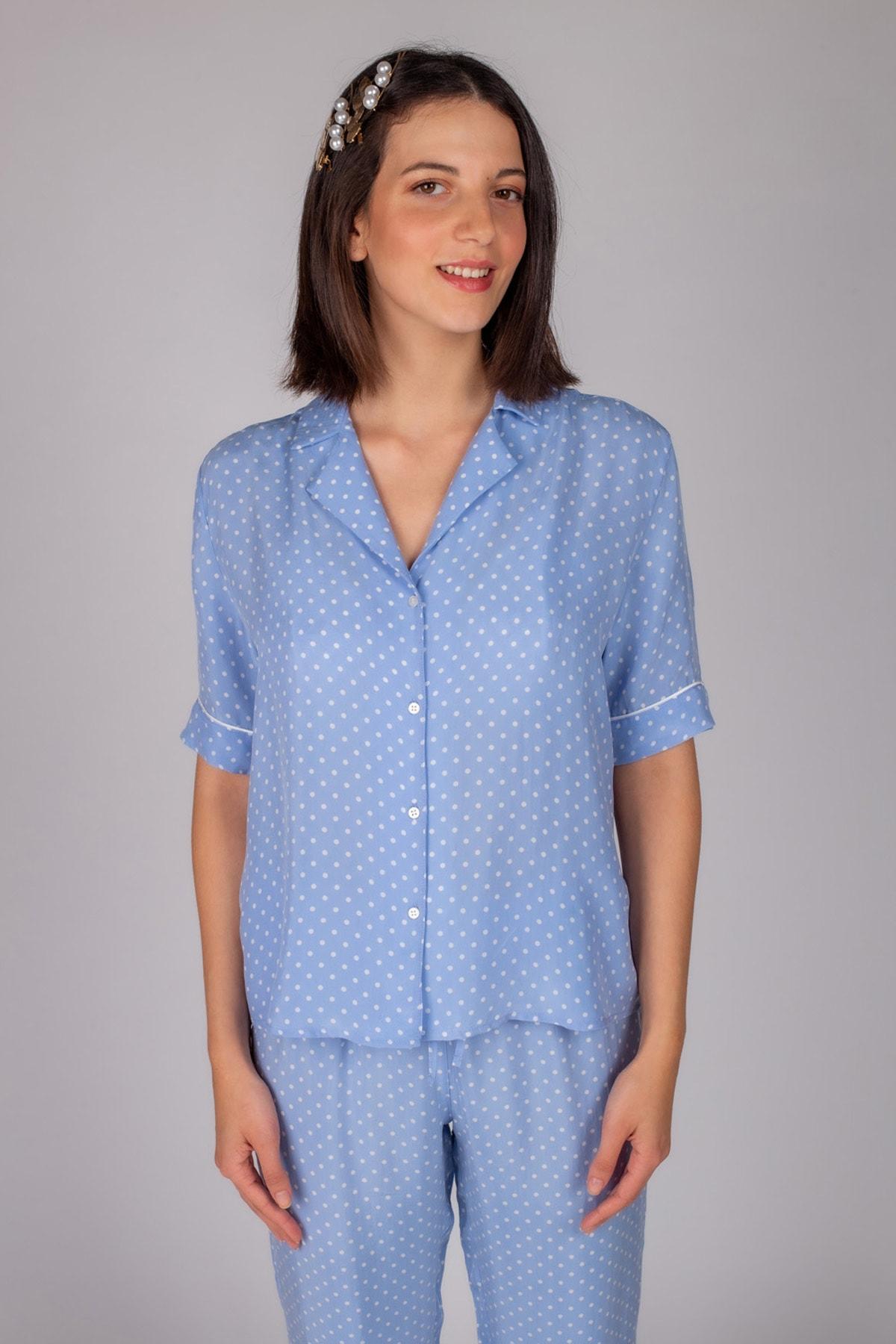 Hays Kadın Mavi Puan Baskılı Gömlek 1