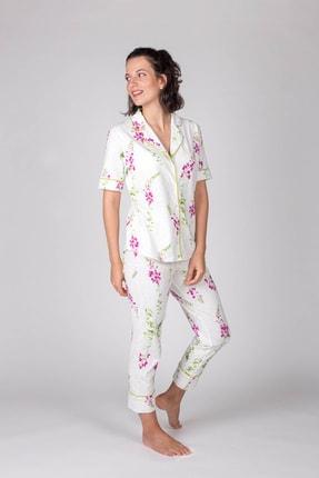 Hays Kadın Yeşil Kısa Kollu Gömlek Üstlü Midi Pijama Takımı