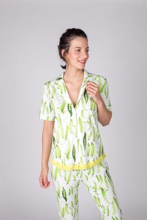 Hays Kadın Yeşil Bezelye Baskılı Kısa Kollu Eteği Dantelli Gömlek