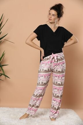 Siyah İnci Kadın Desenli Kadife Pijama Altı