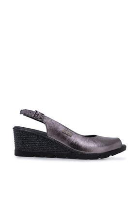 Pierre Cardin Hakiki Deri Platin Rengi Kadın Dolgu Topuklu Ayakkabı