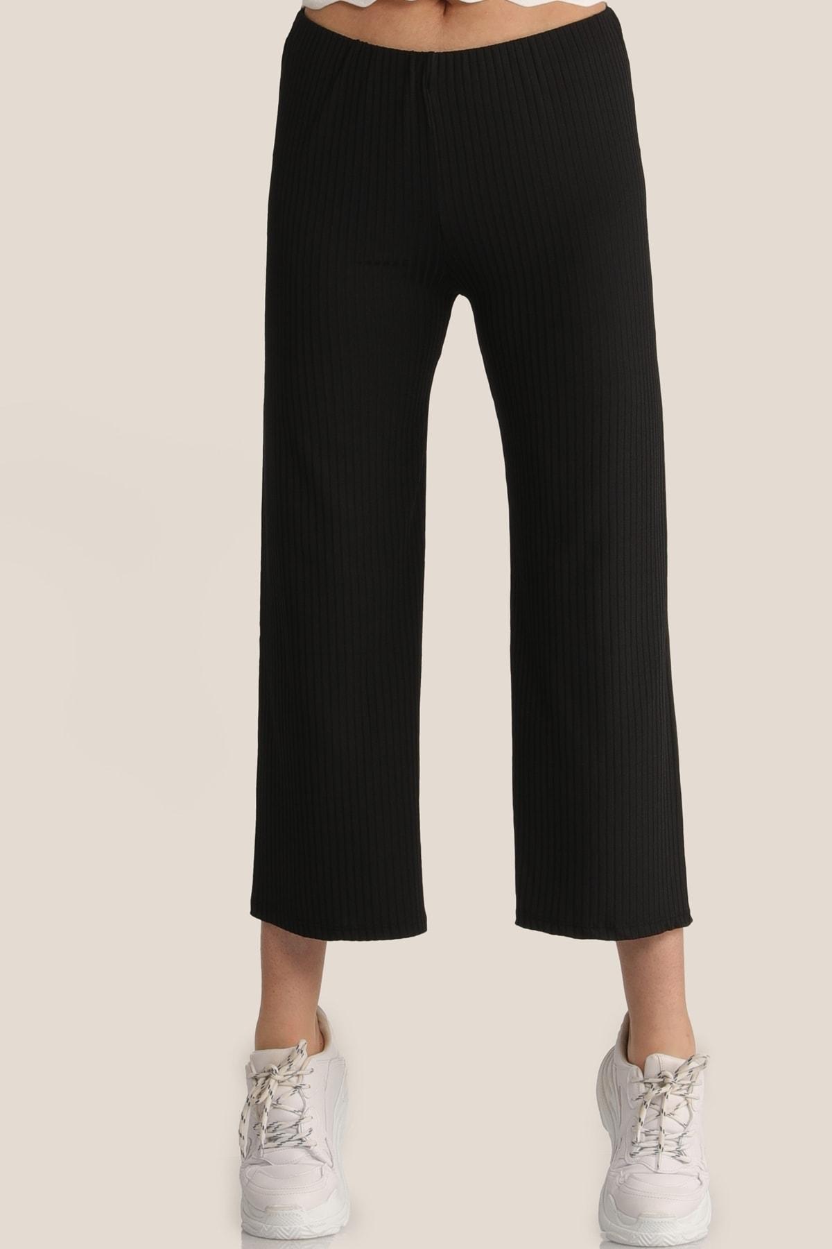 MD trend Kadın Siyah Salaş Bol Pantolon Mdt4885 1