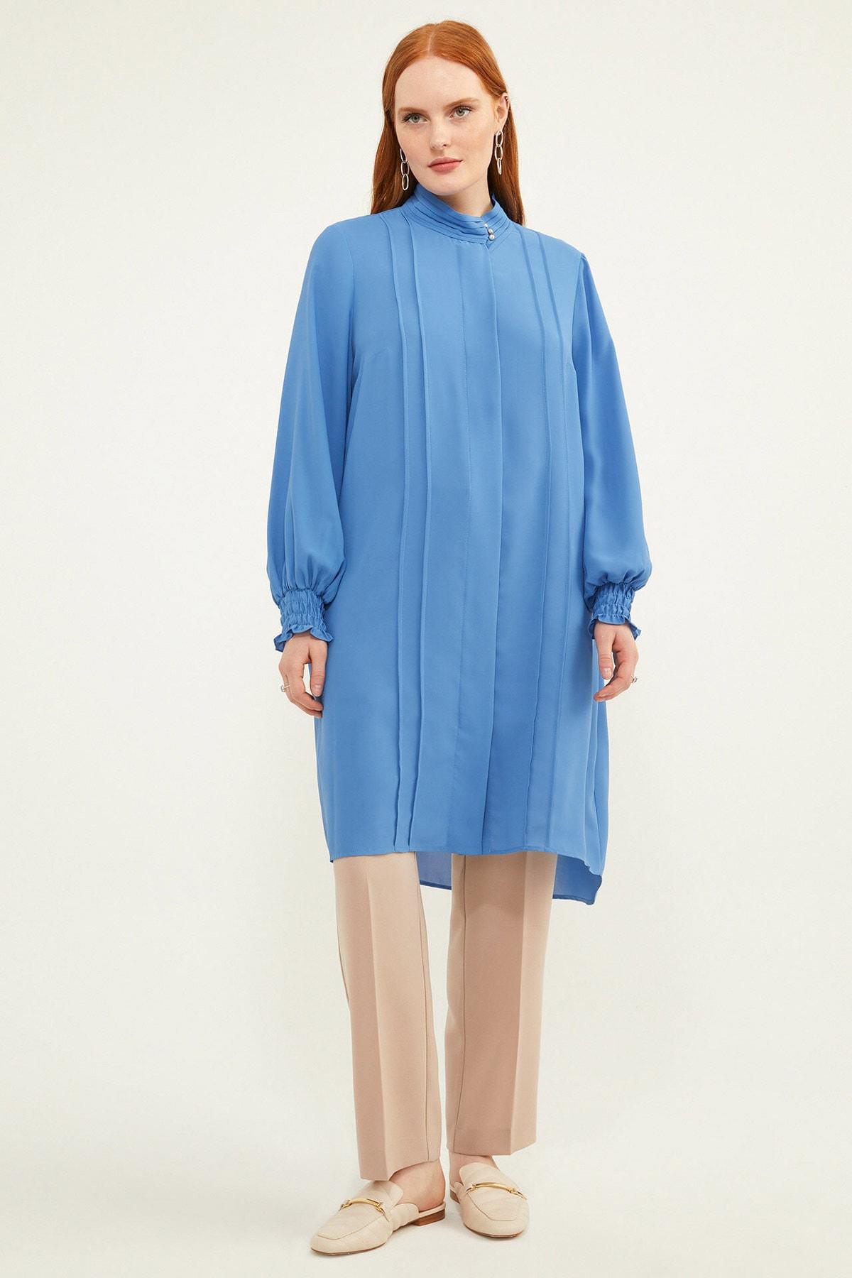 Aker Kadın Büyük Beden Biyeli Mavi Tunik V158970110 1