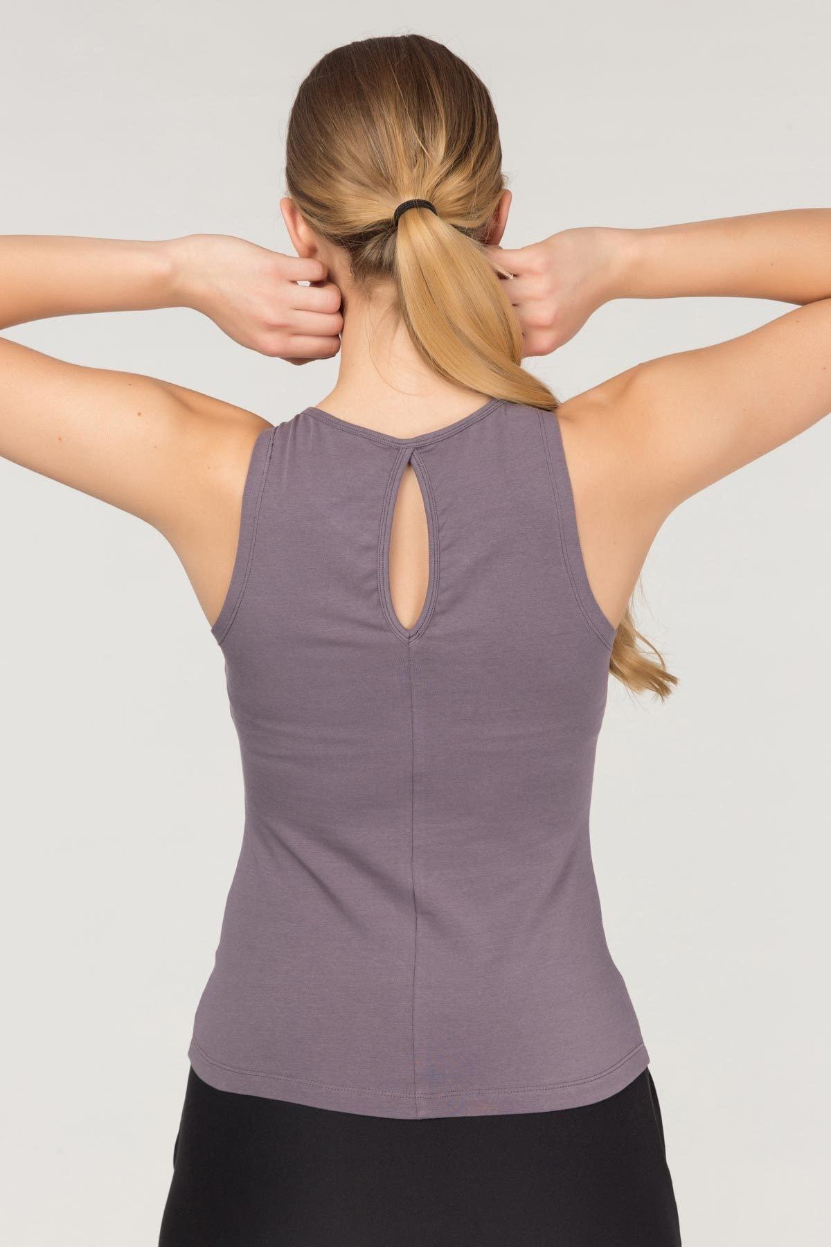 bilcee Mor Pamuklu Yoga Kadın Atleti FS-4018 2