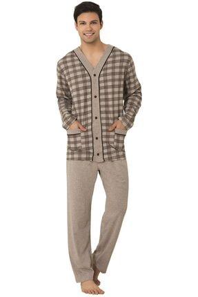 Mecit Pijama 2710 Büyük Beden Erkek Pijama Takımı -kahverengi
