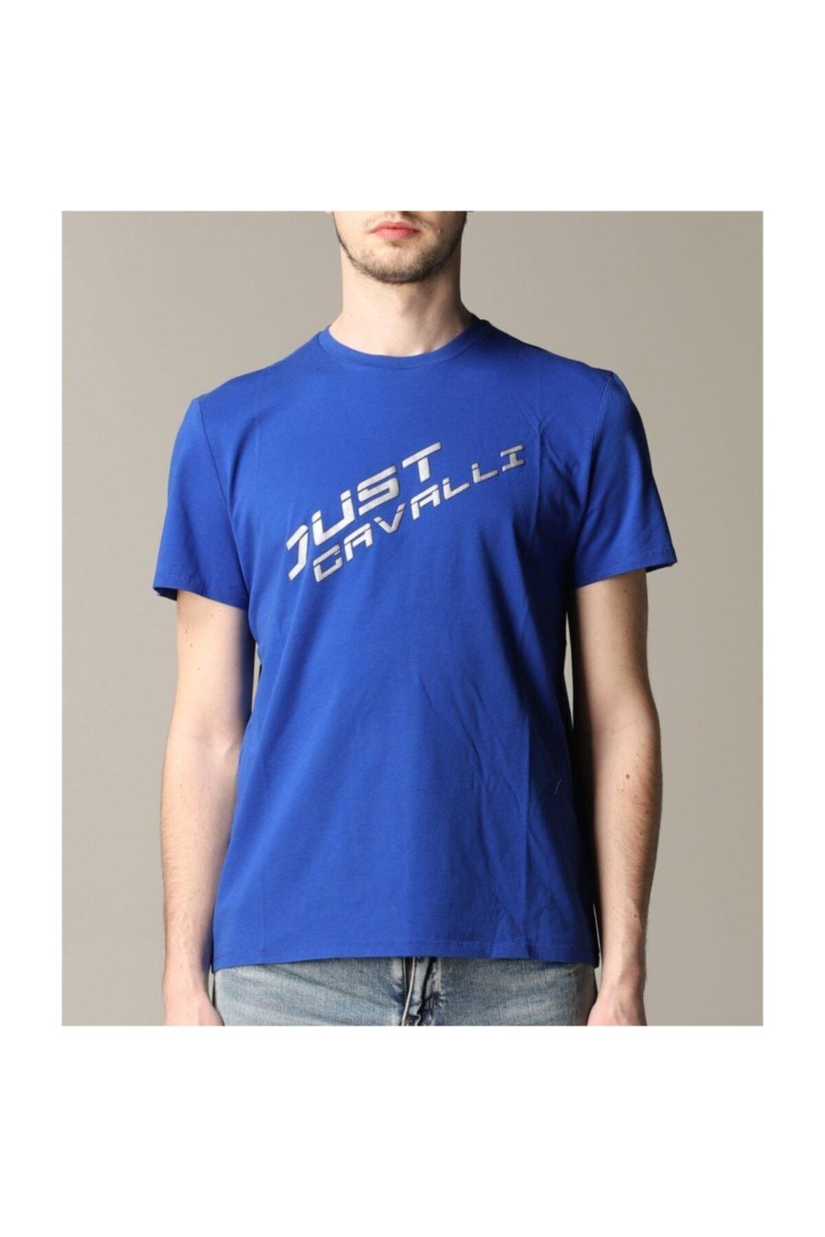 Just Cavalli Erkek Mavi Bisiklet  Yaka Mavi T-shirt 1