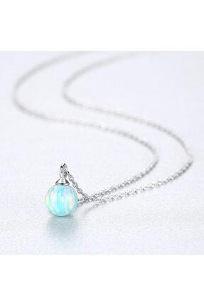 SanGümüş Gümüş Kolye Opal Renk Cümbüşü Gümüş Kadın Kolye