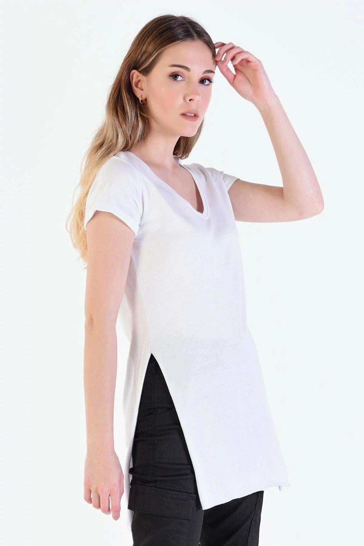 Eka Kadın Beyaz V Yaka Kısa Kol Yırtmaçlı T-shirt 2