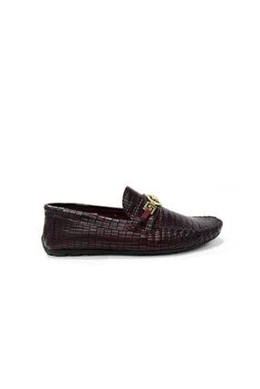 TETRİ Hakiki Deri Erkek Günlük Ayakkabı-bordo Kroko Rox8