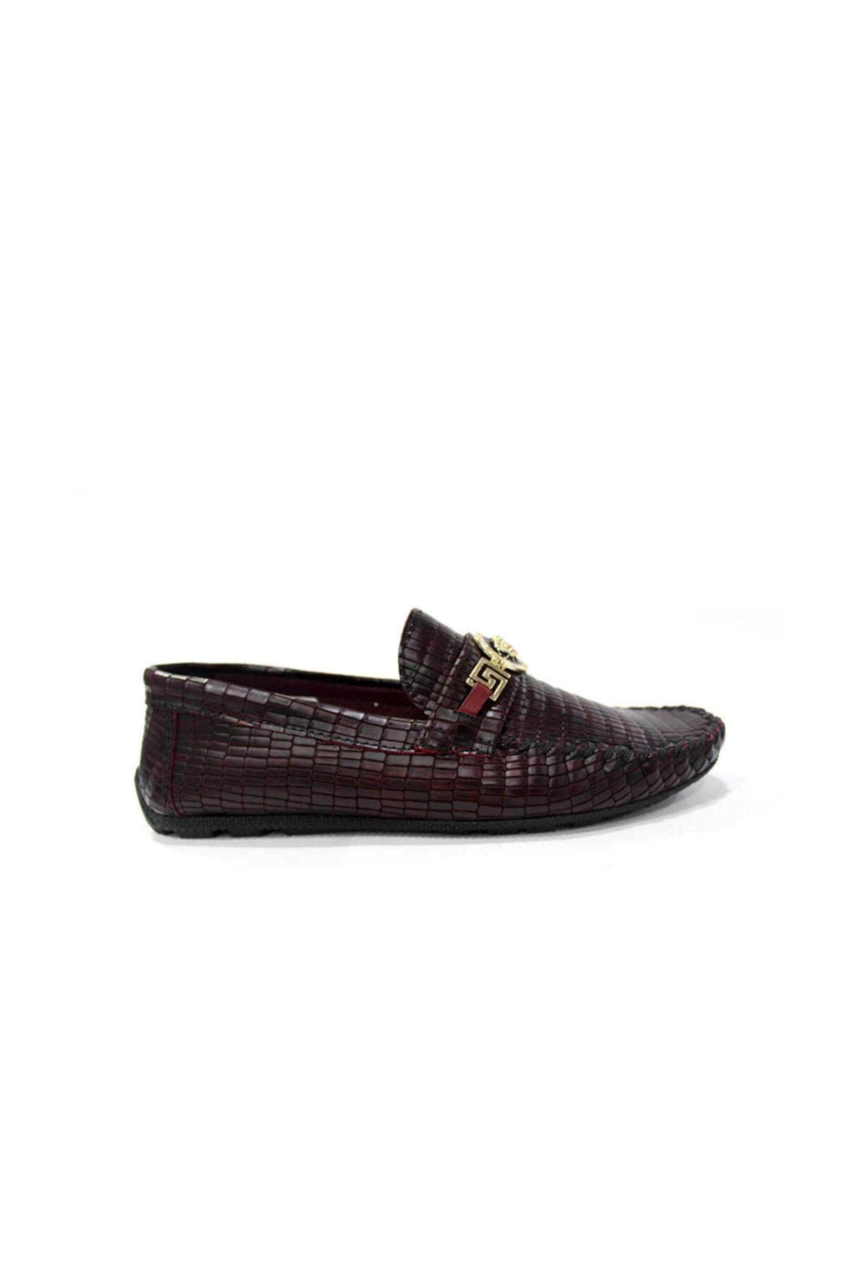 TETRİ Hakiki Deri Erkek Günlük Ayakkabı-bordo Kroko Rox8 1