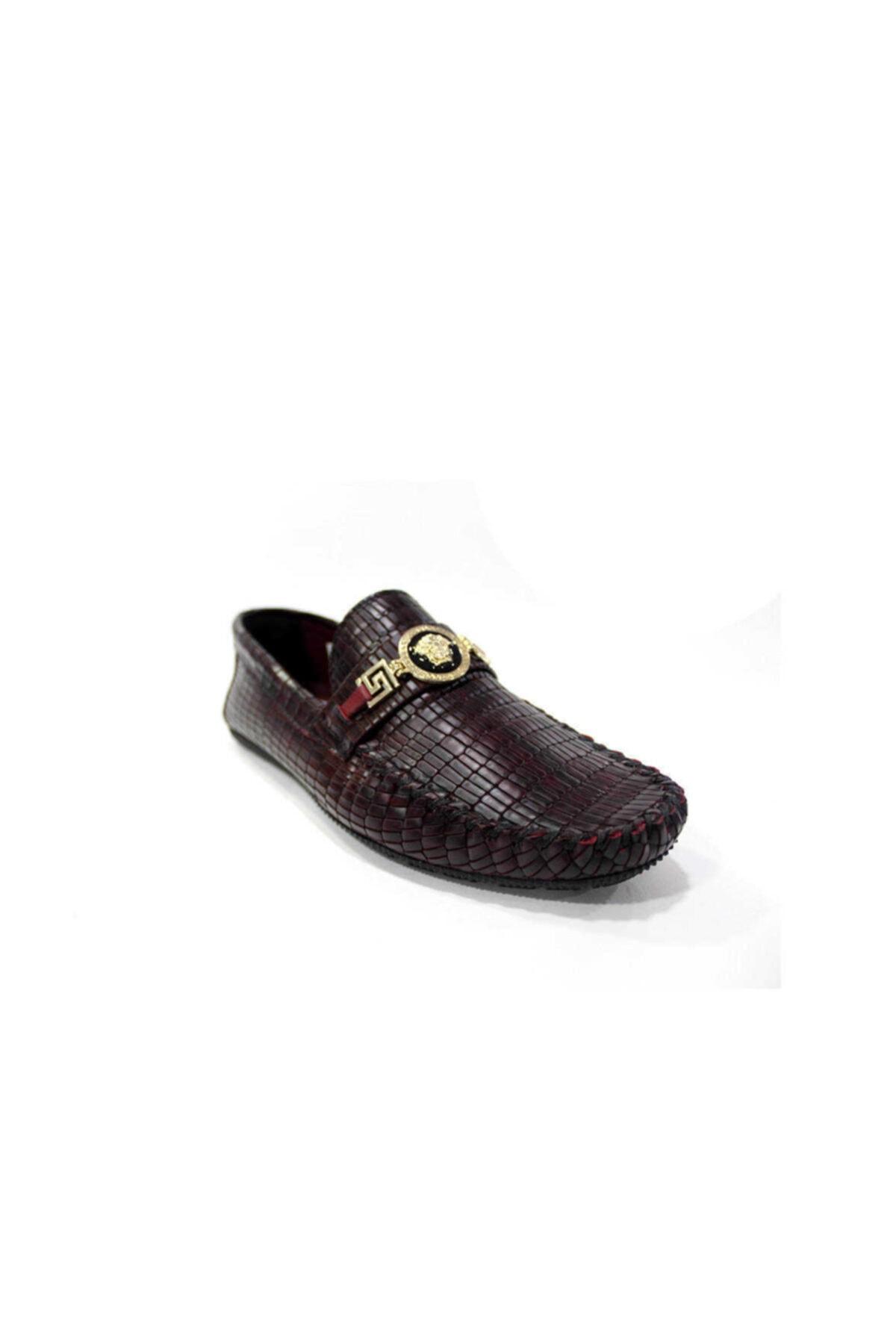 TETRİ Hakiki Deri Erkek Günlük Ayakkabı-bordo Kroko Rox8 2