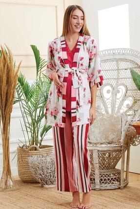 Lohusa Sepeti Kadın Kırmızı Sabahlıklı Lohusa Hamie Pijama Takımı