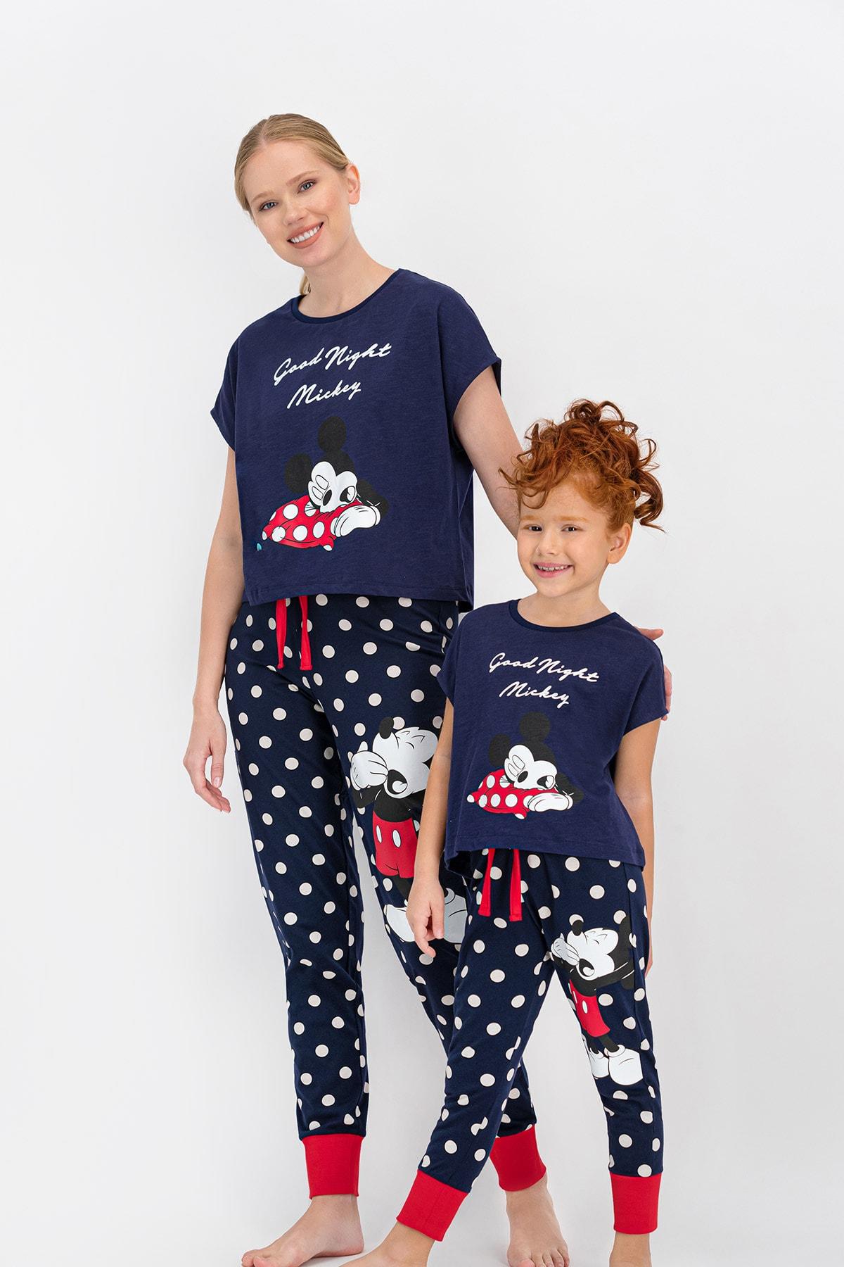 Mickey & Minnie Mouse Kadın Mickey Mouse Lisanslı Lacivert Pijama Takımı 2