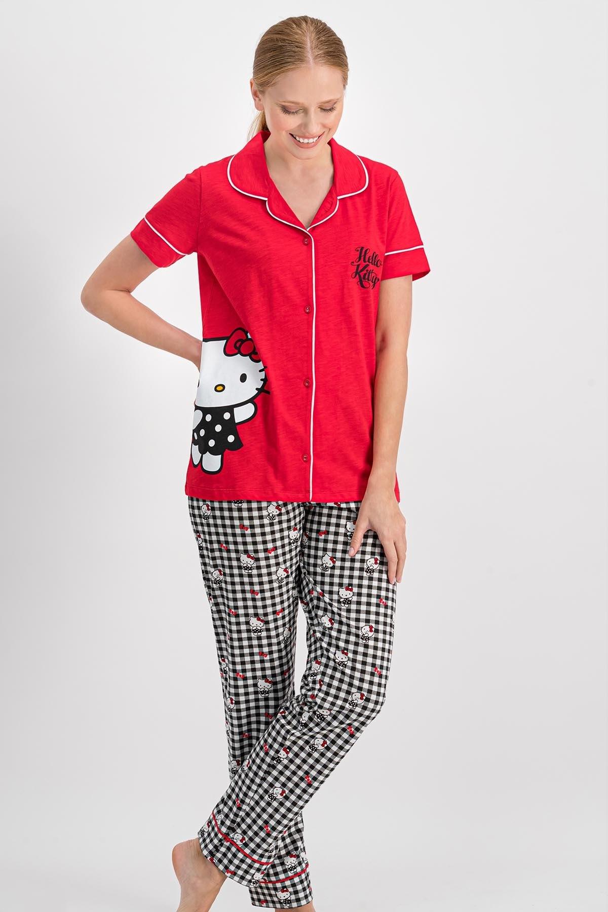 Hello Kitty Kadın Lisanslı Kırmızı Gömlek Pijama Takımı 2