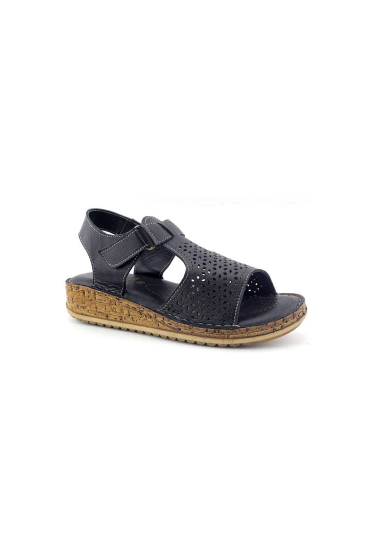 Kayra 910 Hakiki Deri Kadın Sandalet-siyah 2