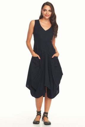 Los banditos Kadın Bohem Tarz V Yaka Cepli Balon Etekli Siyah Elbise