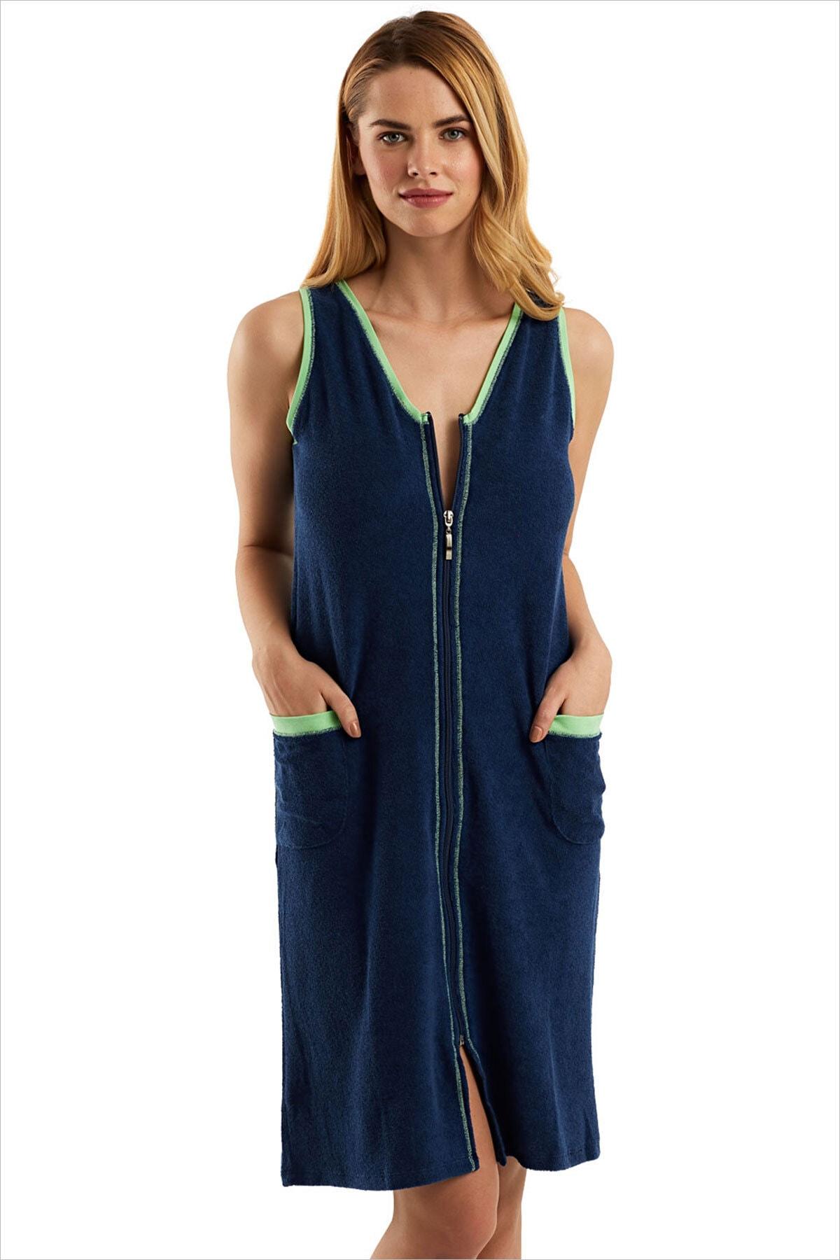 AYYILDIZ Kadın Lacivert Havlu Plaj Elbisesi 59492 1