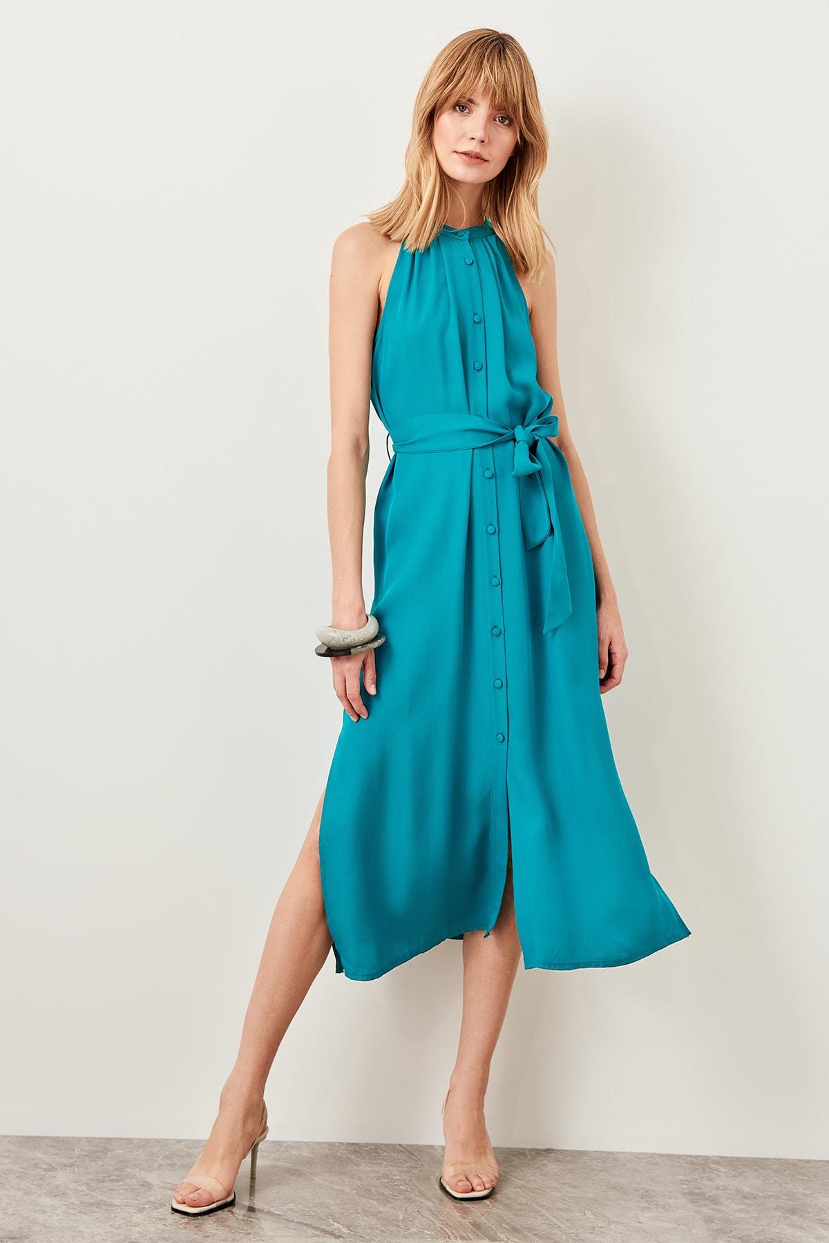 TRENDYOLMİLLA Zümrüt Yeşili Kuşaklı Gömlek Elbise TWOSS19XM0112 2