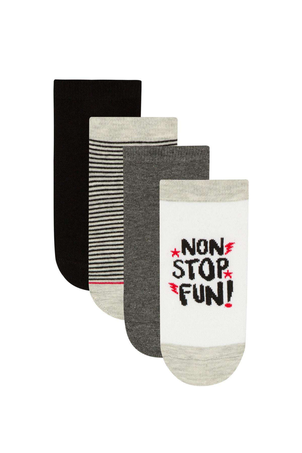 Penti Çok Renkli Erkek Çocuk Stop 4Lü Patik Çorap 1