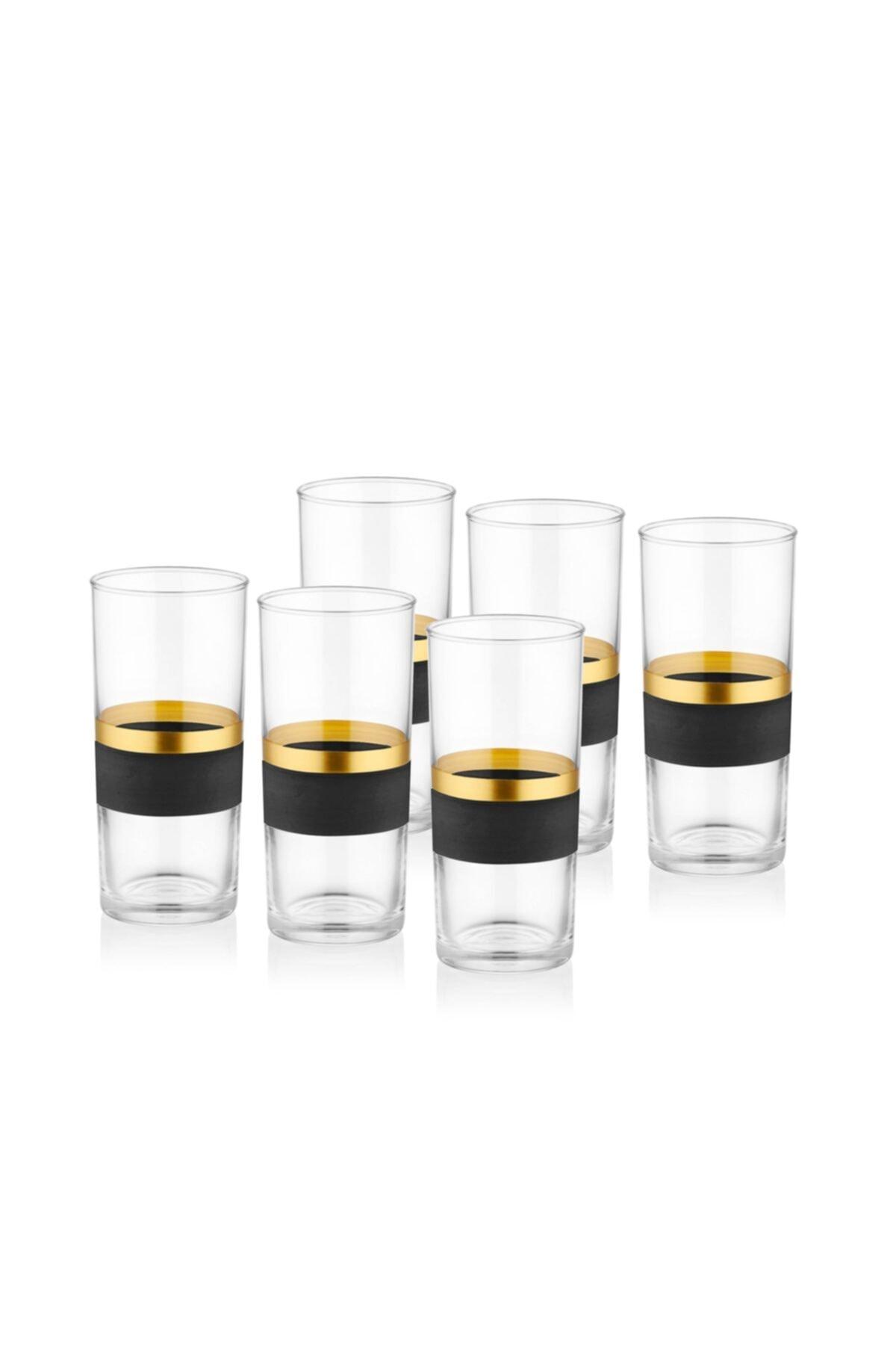 The Mia Glow Rakı Kadehi 6 Lı Set- Siyah & Gold 1