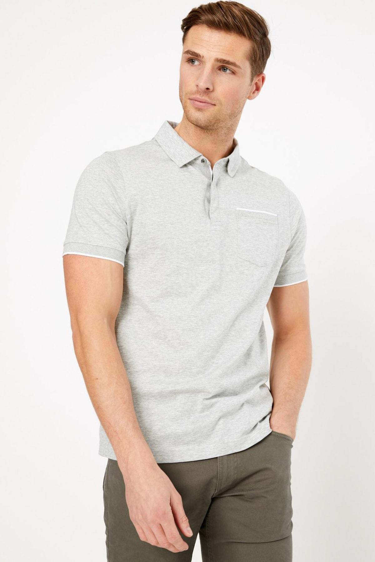 Marks & Spencer Erkek Gri Kısa Kollu Polo Yaka T-Shirt T28004885A 1