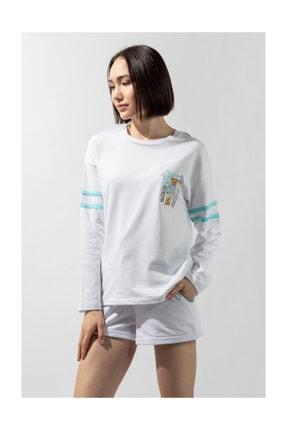 Katia&Bony Kadın Blue College Kadın Uzun Kollu T-shirt - Whıte