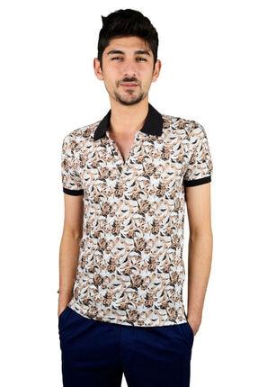 Mcr Polo Yaka T-shirt Kahve Çiçekli Model 36497