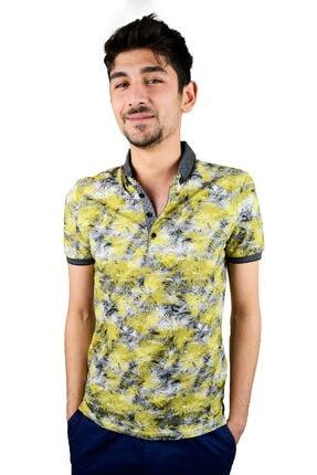 Mcr Polo Yaka T-shirt Sarı Gri Yapraklı Model 36527