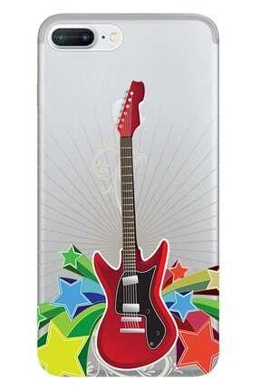 Kılıfmerkezi Iphone 7 Plus Kılıf Desen Baskılı Silikon Kırmızı Gitar
