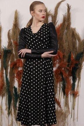 Carlamia Kol Deri Puanlı Elbise
