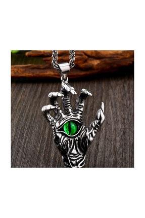 daisybydaisy Titanyum Paslanmaz Çelik Yeşil Göz Iskelet El Erkek Kolye
