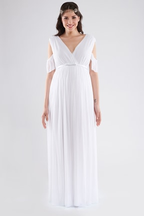 LYN MAMA Hamile Starlight Elbise - Beyaz