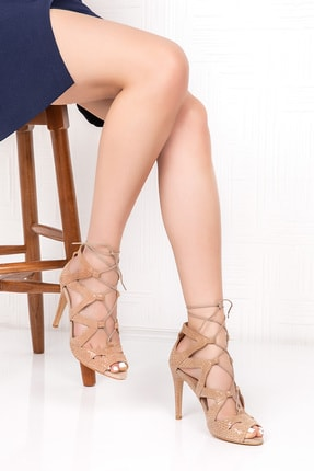 Gondol Yılan Baskı Derisi Topuklu Ayakkabı