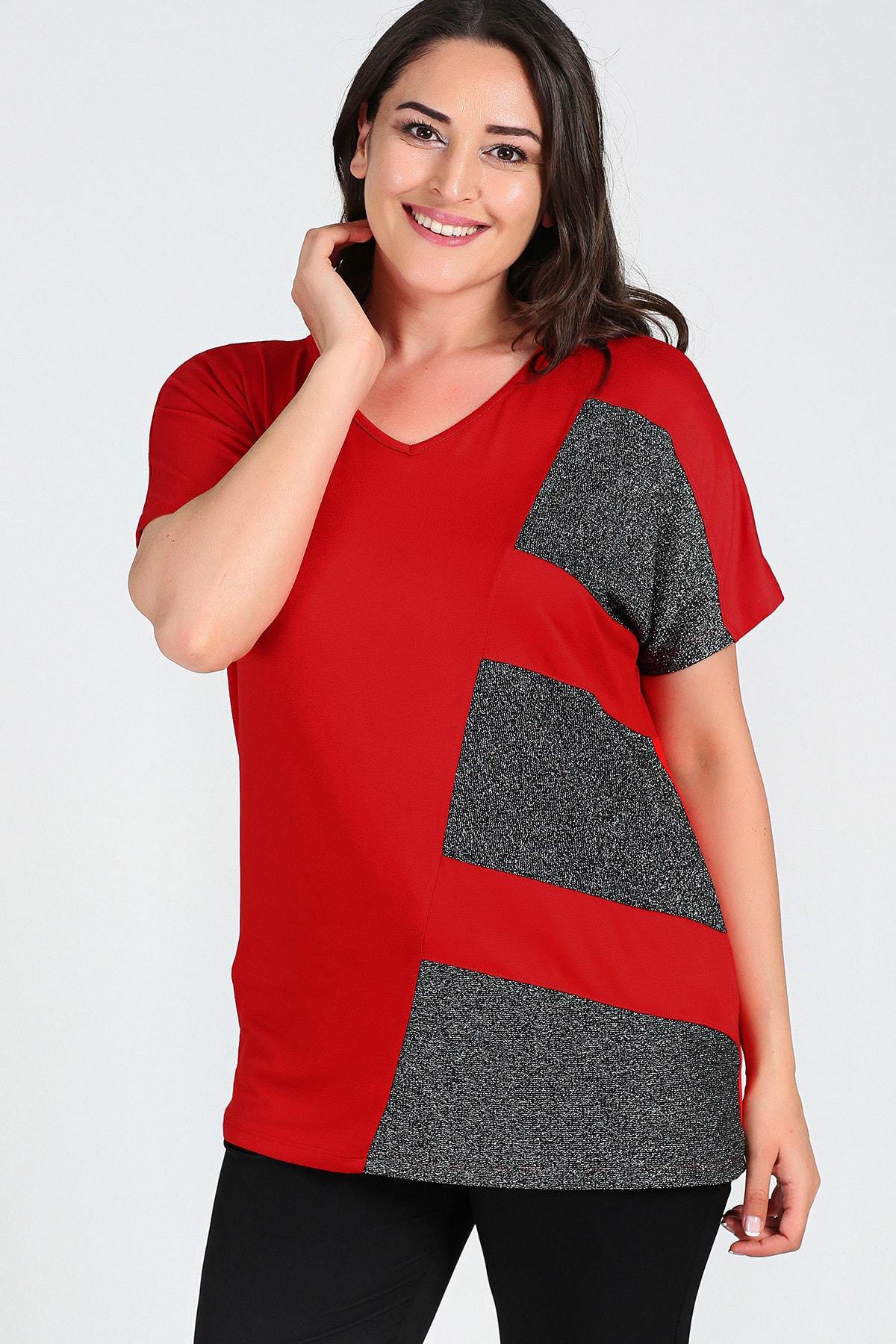 Moda Cazibe Büyük Beden Sim Detaylı Kısa Kol Bluz 1