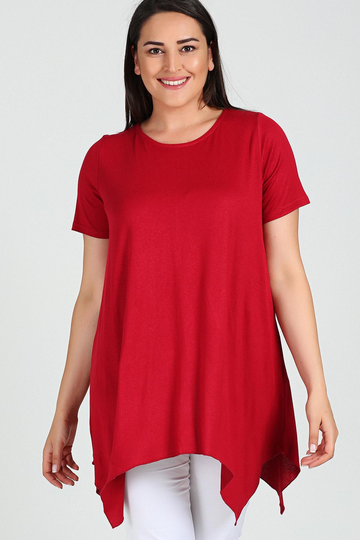 Moda Cazibe Büyük Beden Kısa Kol Yırtmaçlı Basic Bluz 1