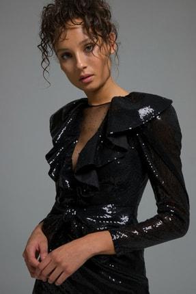 adL Kadın Siyah Yakası Fırfırlı  Elbise 12437864000001