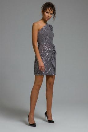 adL Kadın Antrasit Tek Kollu Payet Elbise 124C1664000014