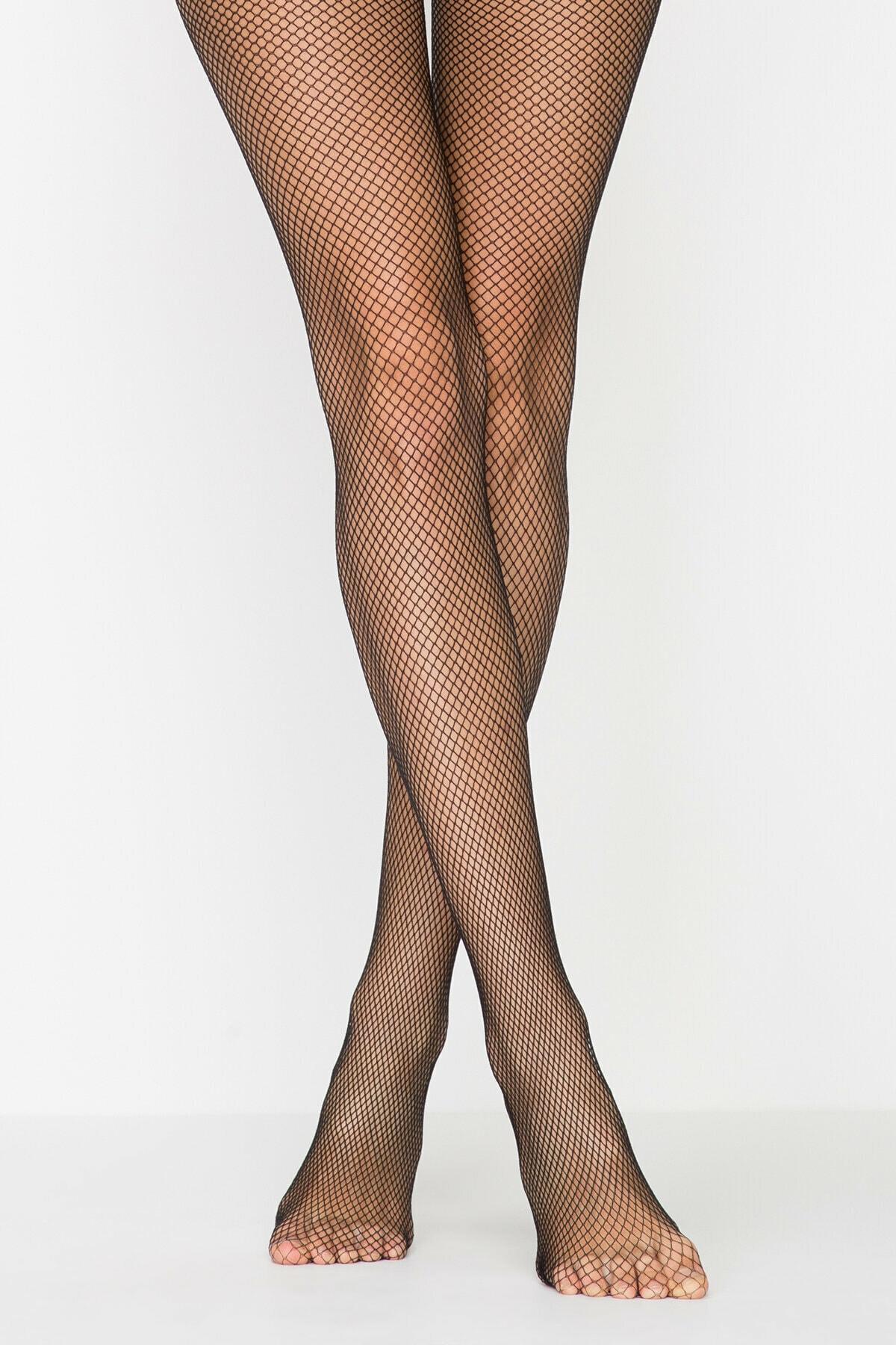 Penti Kadın Siyah File Külotlu Çorap