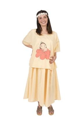 Hubla Design Anneliğe Doğuş Sarı Doğum Elbisesi