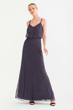 adL Kadın Antrasit Boncuklu Uzun Elbise 12437899000014