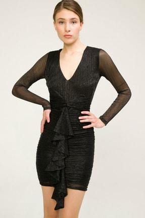 adL Kadın Siyah V Yaka Elbise 12437585000001