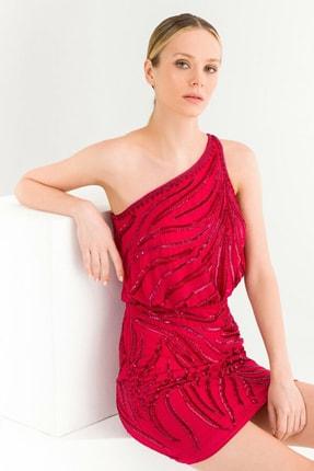 adL Kadın Fuşya Tek Omuz Elbise 12437903000008