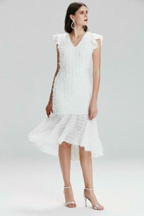 adL Kadın Kemik V Yaka Volanlı Elbise 12437091000019