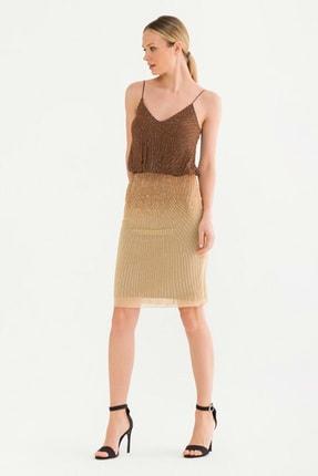 adL Kadın Kahverengi Askılı Elbise 12437898000010