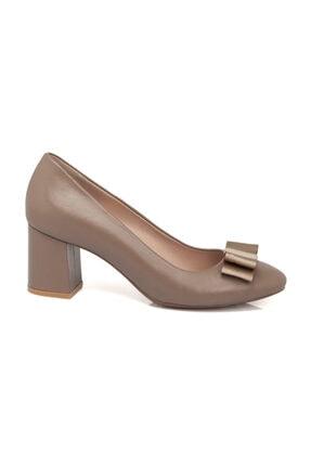 Tergan Hakiki Deri Vizon Kadın Klasik Topuklu Ayakkabı K19I1AY64333