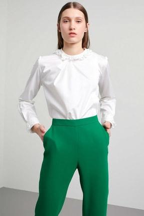 Machka Kadın Beyaz Asimetrik Pat Detaylı Hakim Yaka Poplin Gömlek MS1200025025002