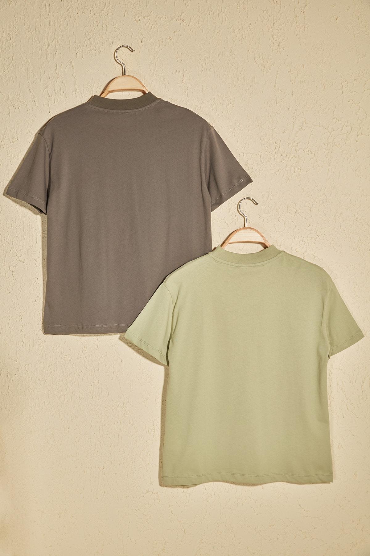 TRENDYOLMİLLA Mint Dik Yaka 2'li Paket Basic Örme Tshirt T-Shirt TWOSS20TS1500 1