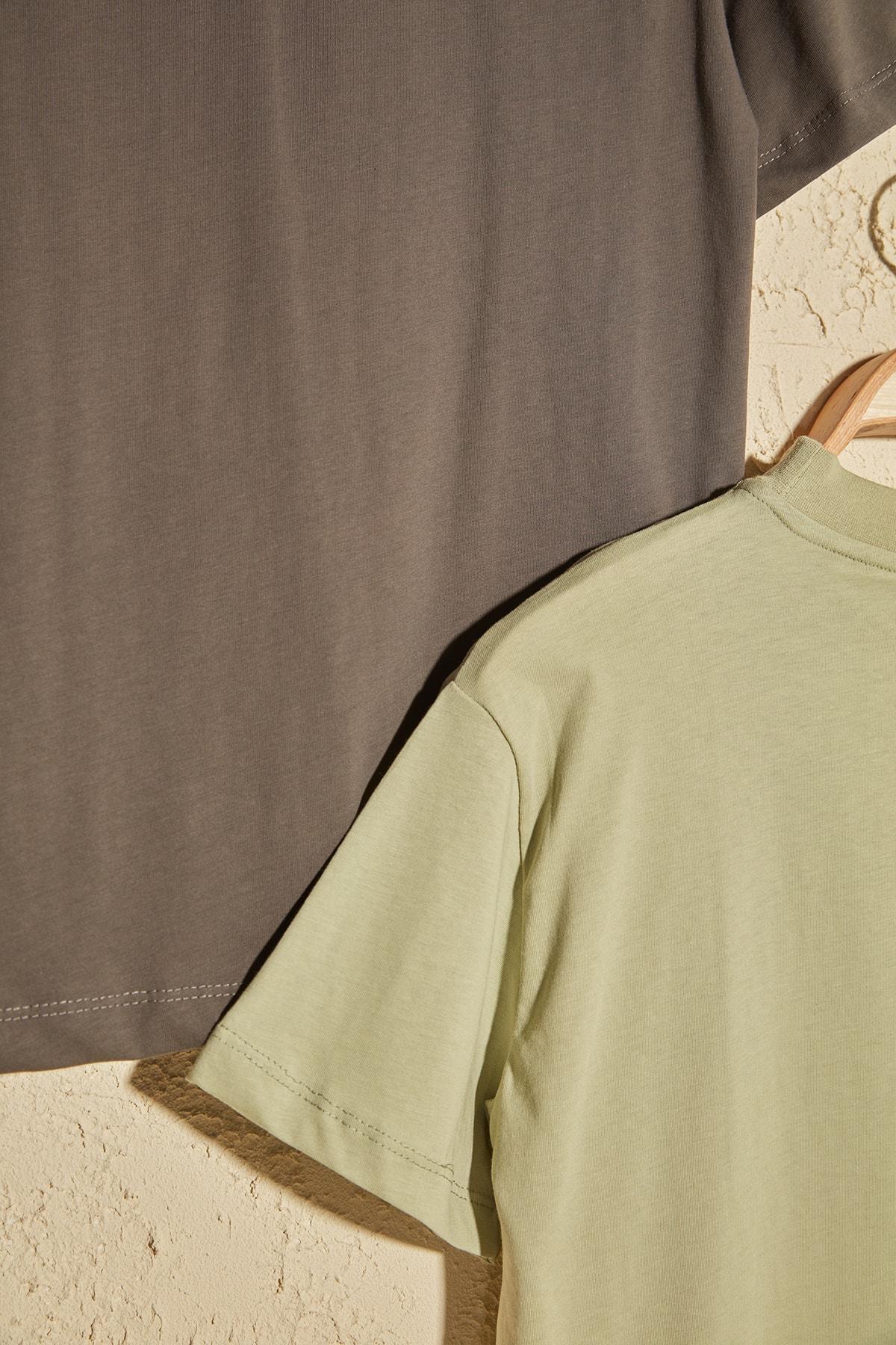 TRENDYOLMİLLA Mint Dik Yaka 2'li Paket Basic Örme Tshirt T-Shirt TWOSS20TS1500 2
